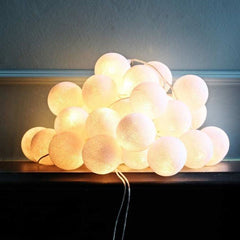 Cream Electric Cotton Ball String Light
