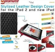 Promate iPose.10 Protective leather case with single level stand and side lock for new iPad -Black Retail Box 1 Year Warranty