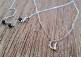 925 Sterling Silver Letter 'U' Pendant with CZs and rolo style Necklace