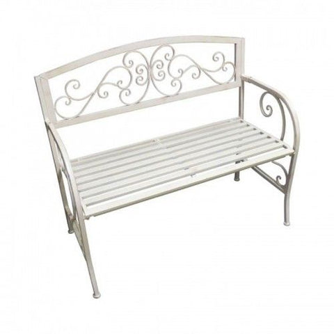 All-white Iron Bench + Free Bird Feeder