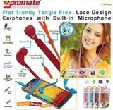 Promate Lacey Flat Trendy Tangle Free Lace Design Earphones with Built-in Microphone-Red - Zasttra.com