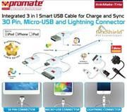 Promate linkMate-trio Integrated 3 in 1 Smart USB Cable for Charge and Sync Lightning