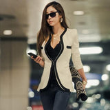 Women's Stylish White V-Neck Patchwork blazer