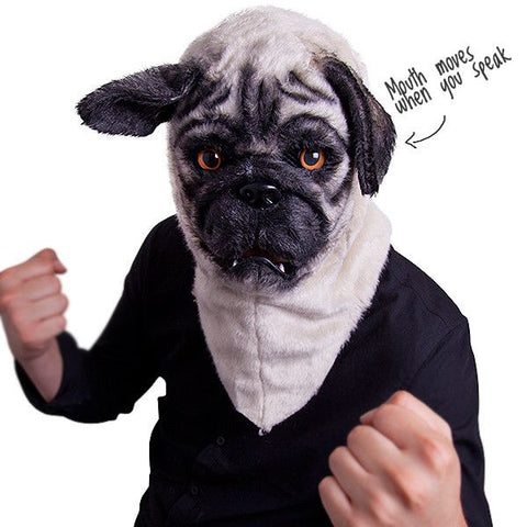 Mr Pug - Costume Dog Head with Moving Mouth