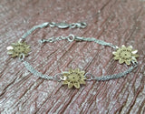 Gold Plated Flower Bracelet in 925 Sterling Silver