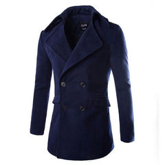 Men's Sexy Navy Woolen Coat
