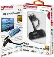 Promate proShare.MHL Universal Multi-function Connection Kit with MHL-to-Monitor Display Adapter -