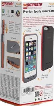 Promate Force.i5 iPhone 5 Premium 2200mAh Premium Sporty Back-up Battery Case for iPhone 5/5s Colour:Maroon