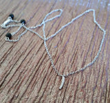 925 Sterling Silver Letter 'I' Pendant with CZs and rolo style Necklace
