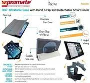 Promate Reel.Air -360Ç?¶? Rotatable Case with Hand Strap and Detachable Smart Cover for iPad Air-Grey