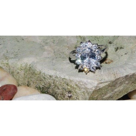 Silver Ring with CZ-Cluster in starburst design