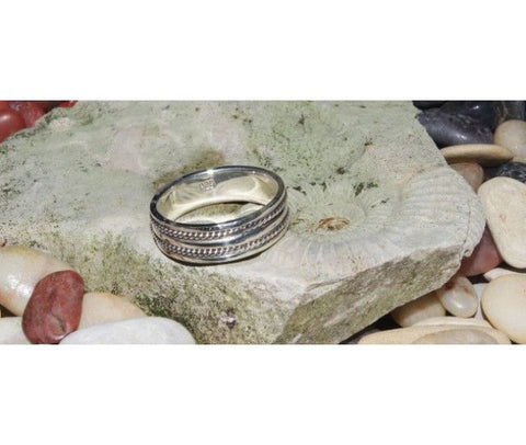 Silver Ring with Dual Rope pattern
