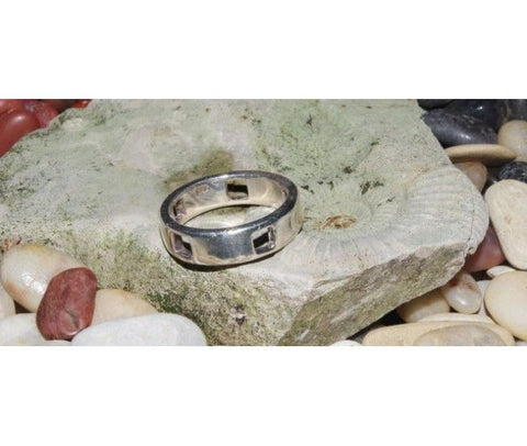 Silver Ring with Square Hole Design