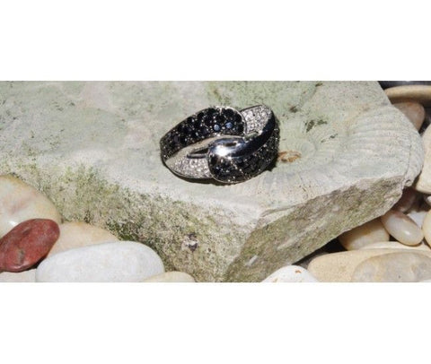 Silver Ring with Black & Clear CZ-stones