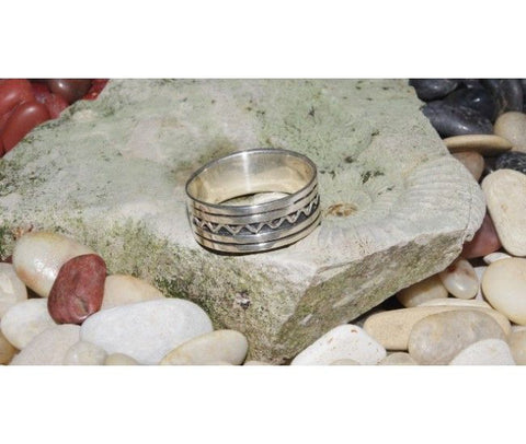 Silver Ring with Small Wave Pattern