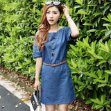 Women's Party Blue O-Neck Solid Above Knee Short Sleeve Straight Dress