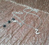 925 Sterling Silver Letter 'Z' Pendant with CZs and rolo style Necklace