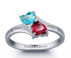 Sterling Silver Twin Heart Ring - Engraved with your Words - Choose Stone Colour