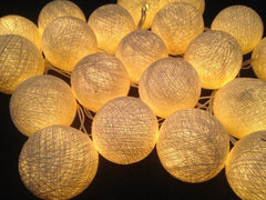 Cream LED Battery Cotton Ball String Light