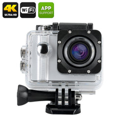 ELE Explorer Pro 4K Sports Camera - Voice Control Waterproof Case 5X Zoom 170 Degree Wide Angle Lens (Silver)