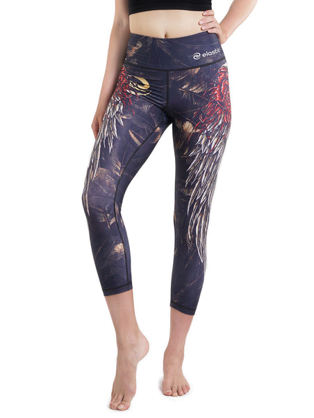 Wings and Roses Crop Leggings