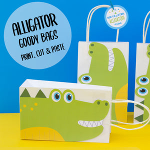 Chomp! Chomp! There's a party in the swamp! Use this template to decorate the favor bags for your Alligator birthday party. This PDF file also includes editable tags, to add the names of your guests or your child's name.
