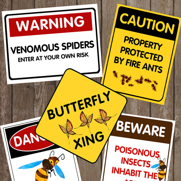 Decorate your Bug Party Theme with these creepy, crawly and fun party signs.   You will receive a PDF file formatted 8 ½in X 11in with 5 different Bug Warning Signs.