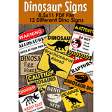 Decorate your Dinosaur Party Theme with these fun PDF template party signs.   You will receive over 10 different Dinosaur Warning Signs.