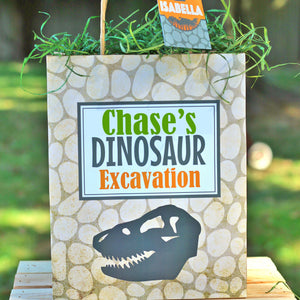 Personalized Favor Bags to fill up with goodies and treats for your Dinosaur Party. These bags come in two sizes and include personalized tags to add your guest names or child name.