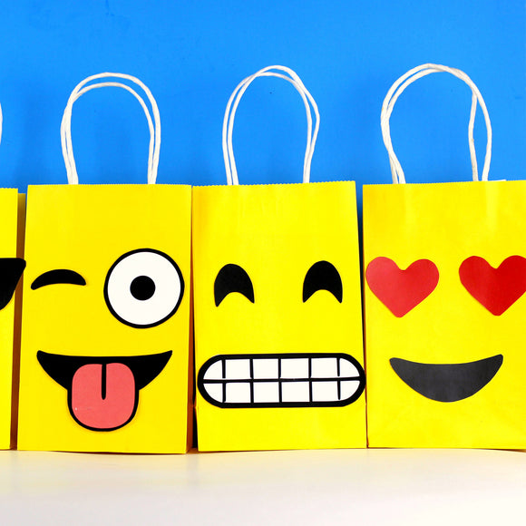 Decorate your Emoji Party Goodie Bags with this cute PDF template.  You may print as many as you need and use them to create your own favor bags or centerpieces.