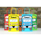 Decorate your goodie bags with this Wheels on the Bus PDF Template. This is a great theme for a child's birthday or back to school party. They can also be used on centerpieces or a decorative banner. The bus can be personalized with your child's name.