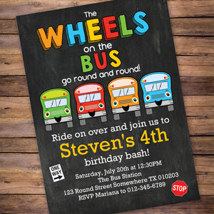 Wheels on the Bus go round and round! Use this PDF template to invite all your guest to your Wheels on the Bus theme party.