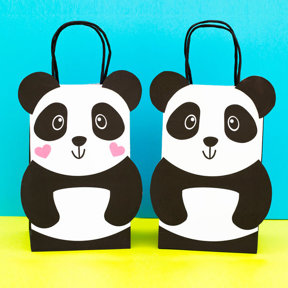 Let's Party like a Panda!! Decorate your Goodie Bags with this Panda PDF Template. The panda bear can be personalized with your party guest names.