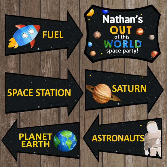 Decorate your Space Party with these fun directional signs.  This is an Editable PDF File, so you can personalize it and add your child's name.