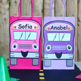 Decorate your goodie bags with this Wheels on the Bus PDF Template. This is a great theme for a child's birthday or back to school party. They can also be used on centerpieces or a decorative banner. The bus can be personalized with your child's name. It also includes stop sign thank you tags.