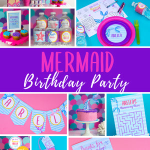 Splish, splash it's a mermaid and shark bash!! Use this template to decorate your kids under the sea birthday party. Some of the the designs in this package can be personalized with name and/or age.
