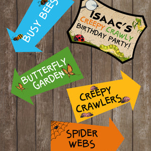 Decorate your Bug Party with these fun directional signs.  This is an Editable PDF File, so you can personalize it and add your child's name.