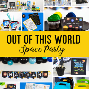 This party package is outta this world !! Use this template to decorate your Space Party. The template can be personalized with your child's name and age.