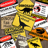 Dinosaur Party Warning Signs