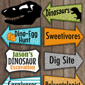 Decorate your Dinosaur event with these fun party signs.  This is an Editable PDF File, so you can personalize it and add your own wording.