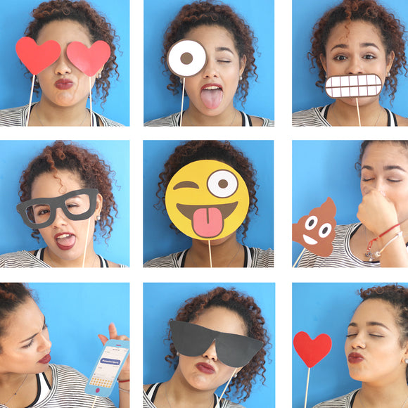 Use this Emoji PDF Template to create your own Photo Booth Props. Print and paste a wooden dowel stick.