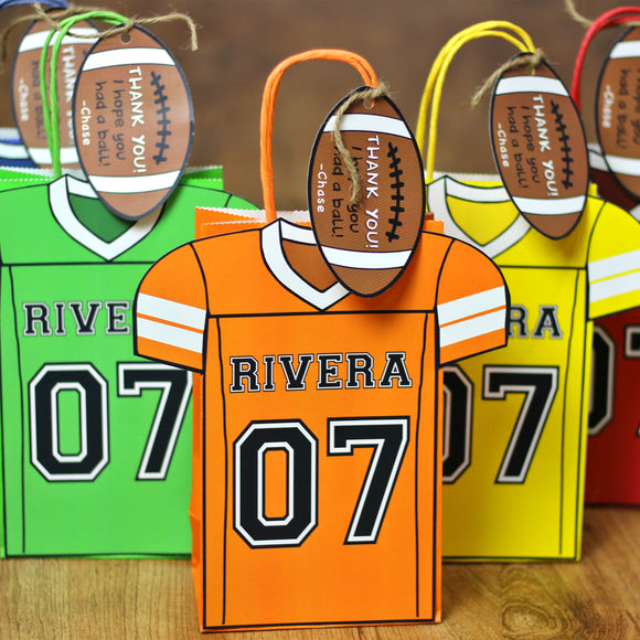 Touchdown!! Decorate your Goody Bag with this Football PDF Template. It also includes a editable football thank you tag. The PDF file is formatted on 8 ½ X 11inches.