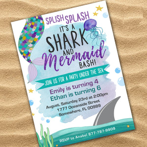 Mermaid/ Shark Invitation