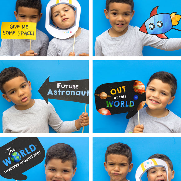 Party guests will love these fun Space Props, this will encourage your guests to post fun selfies. This also includes a bonus photo prop sign.