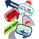 "These jaw-some photo props will surely bring fun to your Shark Party Theme. You will receive a PDF file formatted on 8 ½"" X 11"" with 8 different Shark Photo Props. It also includes ""Take a Prop Shark a Pose"" Sign. Print as many copies as you desire then paste on dowel sticks."