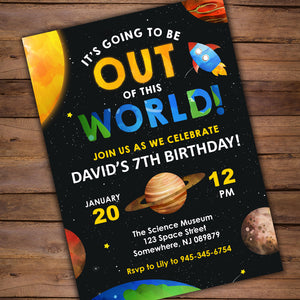 These invitations are outta this world!! Use this PDF template for your next Solar System Party. It also includes thank you cards.