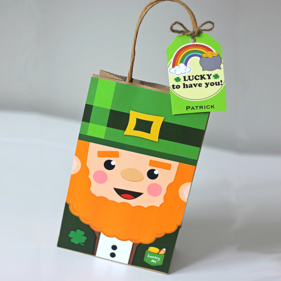 St. Patrick Leprechaun Favor Bag and Tag
