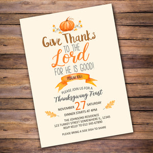 Inspirational Thanksgiving Invitation