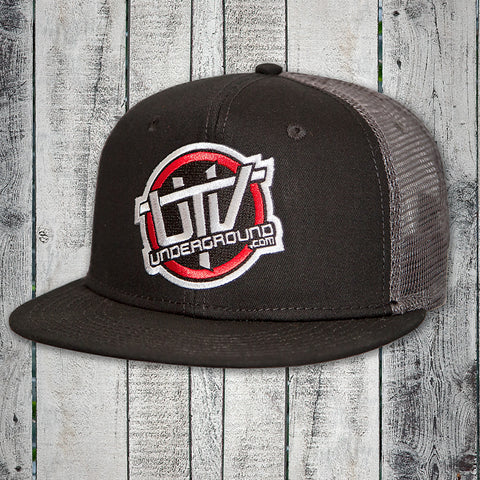 UTVUnderground Snap Back Hat (Black, Black Bill, Grey Back)