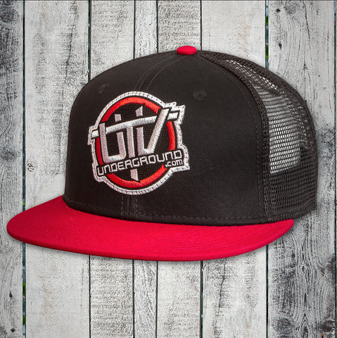 UTVUnderground Snap Back Hat (Black, Red Bill)